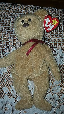 """Ty Beanie Baby """"curly"""" Bear  Retired With Tag Errors Rare!"""