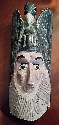 "Vintage Guerrero Wood Carved Mask Bearded Man and Bird 18"" VERY RARE"
