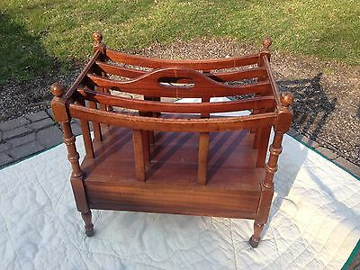 Vintage Mahogany English Canterbury Style Magazine Rack Holder Stand w/ Drawer