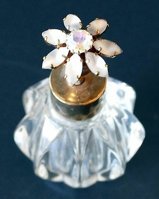 Vintage Irice Clear Glass Perfume Atomizer Bottle, Jeweled