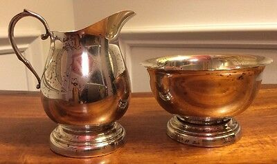 Vintage Poole 300 Sterling Silver Footed Creamer & Sugar Bowl Paul Revere Style