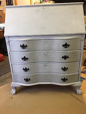 Antique Mahogany Serpentine Desk-Annie Sloan Chalk Paint Paris Grey