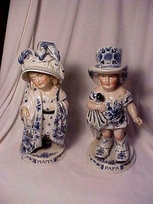 Pair Of Antique Mama Papa Porcelain Bisque Figurines Piano Baby