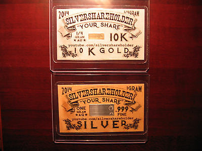 RARE CARD SET - #3 of 9-10KT Gold card & a Silver YouTube SILVERSHAREHOLDER Card