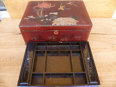 Vintage Old Large Size Asian Writing Box, Old Case '2-Piece' D755)