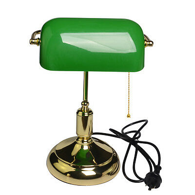 LED Vintage Retro Bankers Antique Brass Green Desk Table Study Lamp Light