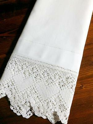 Antique Bolster Pillowcase Heart Filet Lace hemstitched 18x59