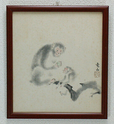 "Japanese watercolor""monkeys""other 2 sheets and one frame #1724"