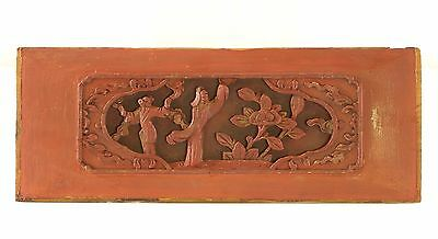 Antique Chinese Red & Gold Wood Carved Panel, Qing Dynasty, 19th c