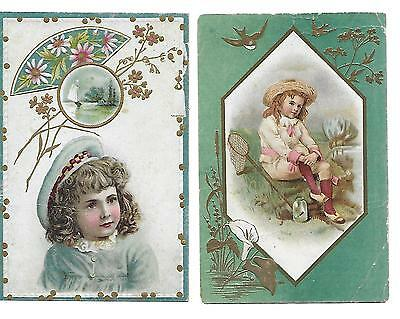 2 Lion Coffee Victorian Trade Cards Young Girls