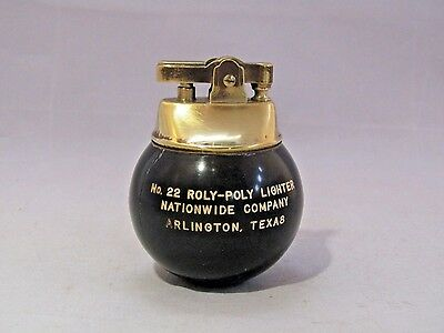 Vtg  ''no. 22 Roly-Poly'' Eight Ball Brass Black Lighter Advertising Collectible