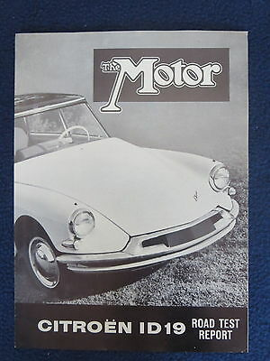 CITROEN ID19 1960 THE MOTOR Road Test Report Excellent Condition