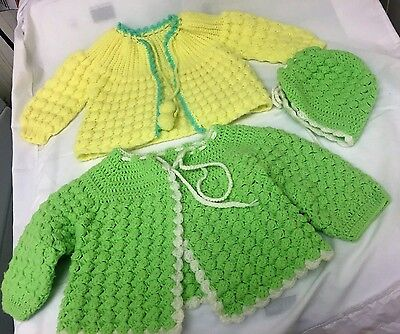 2 Vintage Hand Croceted Baby Sweaters And One Bonnet