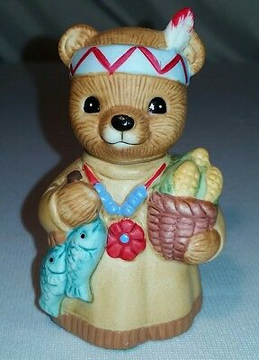 Vintage HOMCO Ceramic Bear Figurine Native American Lady Thanksgiving 1413