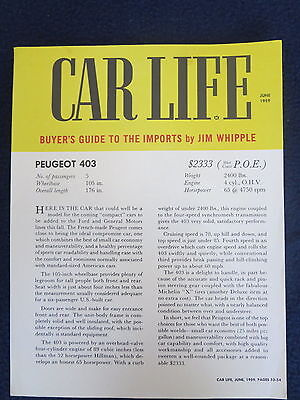 PEUGEOT CAR LIFE June 1959 403 Buyers Guide to the Imports Only $2,333!