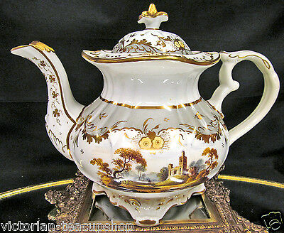 Rare Antique Coalport 1830's Teapot Painted Scenic Pattern Large Tea Pot