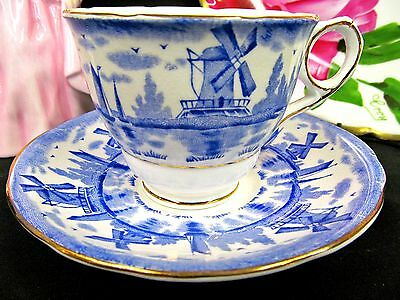 Royal Stafford Tea Cup And Saucer Blue Windmill Pattern Teacup