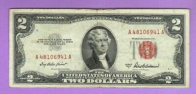 1953 $2 NOTE VF+ NICE RED SEAL CURRENCY Two Dollar BILL MONEY