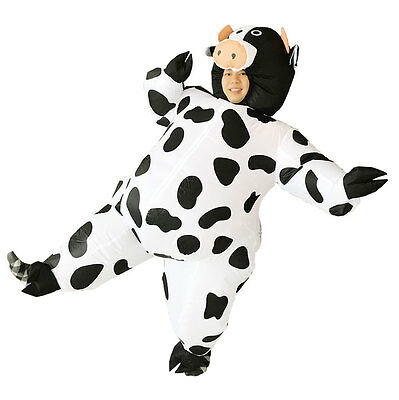 Adult Inflatable Cow mascot Costume Air Blowup Fancy Dress Christmas Outfit Suit  sc 1 st  PicClick & ADULT INFLATABLE COW mascot Costume Air Blowup Fancy Dress Christmas ...