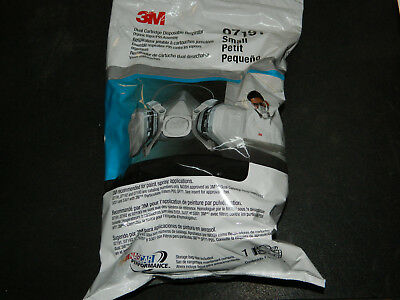 (1) New Factory Sealed 3M 07191 Dual Cartridge Respirator Size Small Made In Usa