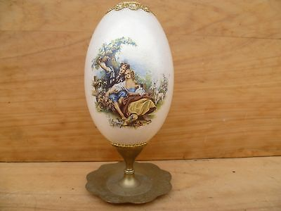 Vintage Old Hand Painted White Egg On Brass Stand Old Egg (D994)