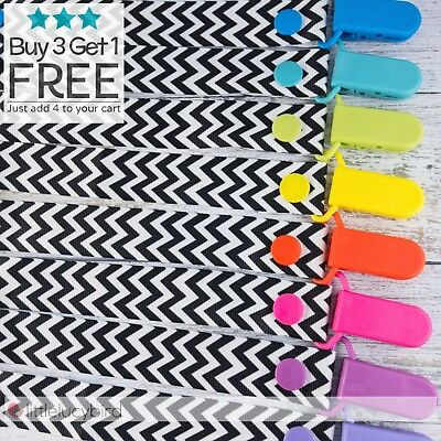 Chevron Colour Pop Dummy Clip - Pacifier Clips - Soother Chain - Baby Gift