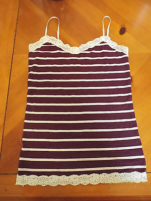 Womens Camisole and Top, Lot of 2 Medium-Large, Stripe Crochet Lace Adjustable