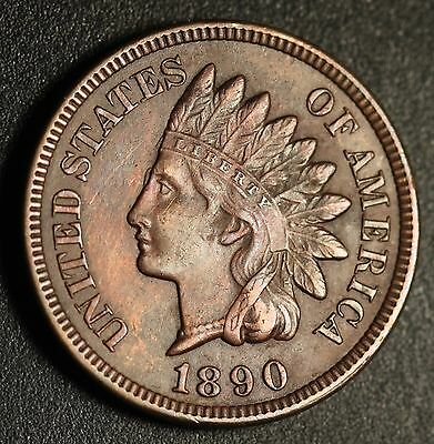 1890 INDIAN HEAD CENT -With LIBERTY & Near 4 DIAMONDS - AU UNC