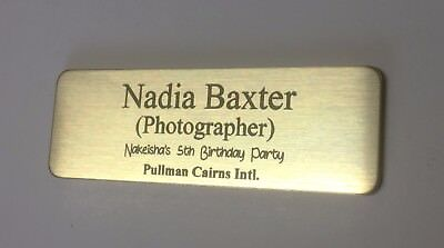 Brushed Gold Name Badge with Text and pin attached Laserable Plastic 70 x 23 mm