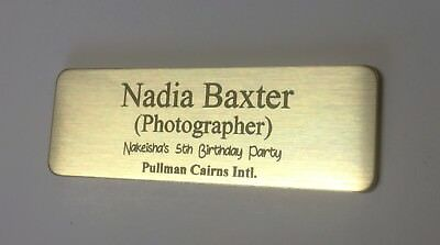 Name Badge with Text and pin attached laserable plastic 70X23mm