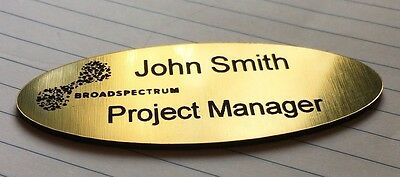 Name Badge Oval Shape Brushed Gold with pin attachment 72x26mm