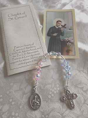 NEW Hand-Made ST. GERARD CHAPLET, CZECH CRYSTAL Blue Pink Beads PREGNANCY Free S