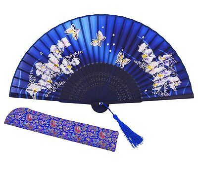 Meifan Chinese/Japanese Womens Handmade Silk Folding Hand Fan Blue