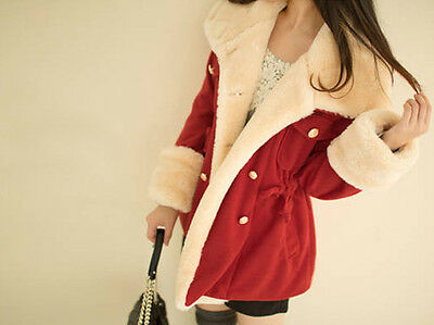 Spring Fashion Warm Double-Breasted Wool Blend Jacket Women Coat Red S