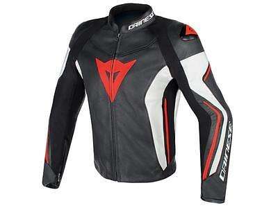 Dainese Giacca moto Assen Leather Jacket Black / White / Red Fluo taglia 48