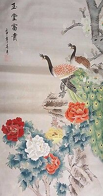 """(1950's) AUTHENIC ANTIQUE FINE CHINESE SILK PAINTING birds 36"""" x 18"""" unframed"""