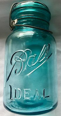Vintage Aqua Ball Ideal  Glass Canning Jar With Glass Lid