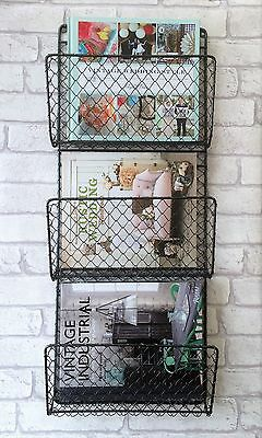 Metal Wire Magazine Newspaper Rack Industrial Style Wall Storage Baskets 2 Sizes