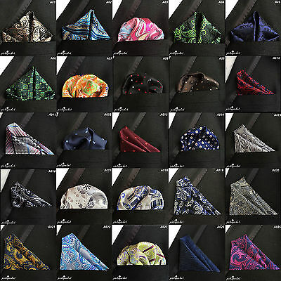 Top Quality Pocket Square Hanky Handkerchief Silk Paisley Floral Pattern Wedding