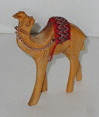 """Vintage Hand Carved Olive Wood Standing Camel Figurine 4"""" Tall with saddle"""