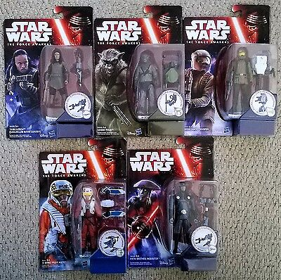"""Star Wars The Force Awakens 2015 Carded Hasbro 3.75"""" Action Figures Mint On Card"""