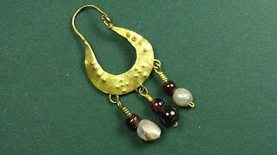Ancient Gold Crescent Earring With Agate & Pearls Greco-Roman 200 Bc-100 Ad