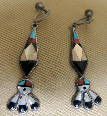 Zuni attr Elizabeth Leekya Vacit Long Sun Face  Screwback Earrings Mosaic Inlay