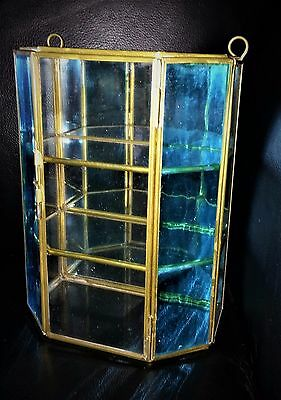 Vintage Glass  & Brass Table-Top / Hanging Curio Cabinet Display Case