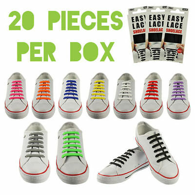 Easy Lace Flat Elastic Silicone Shoe Laces No Tie For Trainers & Sneakers