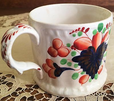 Antique Gaudy Welsh Copper Luster Earthenware Mug, Old Imari-Style Staffordshire