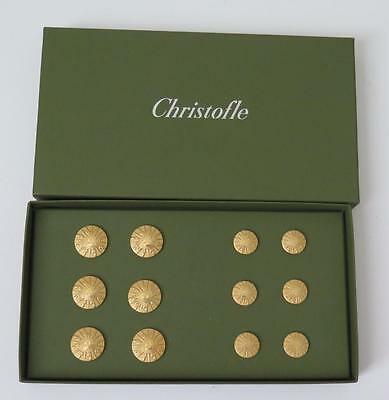 Rare Christofle France Sterling Silver 925 Gold Plated Buttons Double Hallmarked
