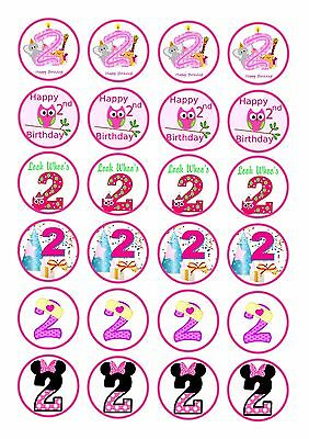 24 Girls 2Nd Second Birthday  Cupcake  Wafer Rice Edible Fairy Cake Toppers