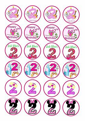 24 Girls 2Nd Second  Birthday  Ice/Icing Edible Fairy/Cup Cake/Buns  Toppers