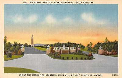 Greenville South Carolina Woodlawn Memorial Park Linen Antique Postcard J63583